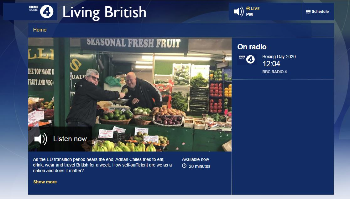 Living British Feature on Radio 4 with Adrian Chiles