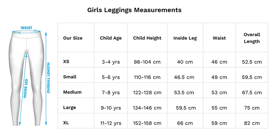 Girls Leggings Size Guide