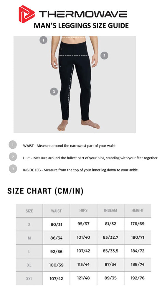 Men's Thermowave Leggings Size Guide