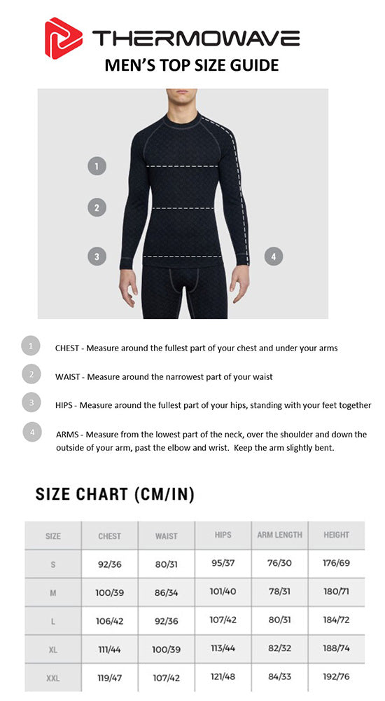 Men's Thermowave Top Size Guide
