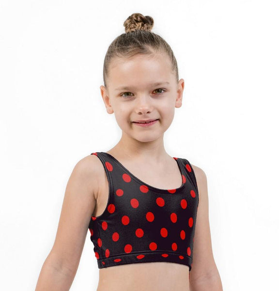 Polka Dot Print Lycra Girls Crop Top