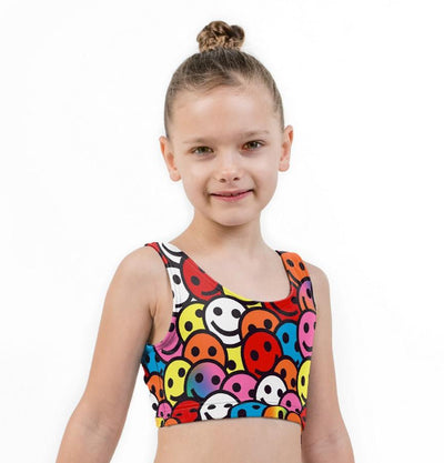 Smiler Print Lycra Girls Crop Top