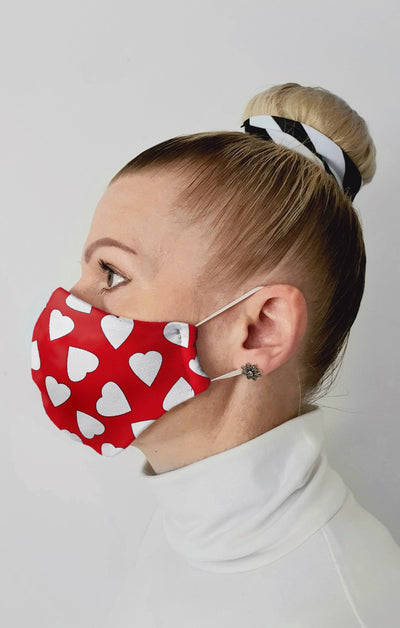 Love Hearts Recycled Fabric Cotton Face Mask - Washable & Reusable