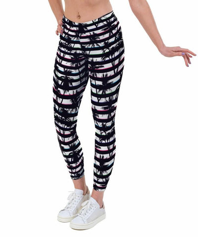 Tropical Stripe Print Lycra Leggings