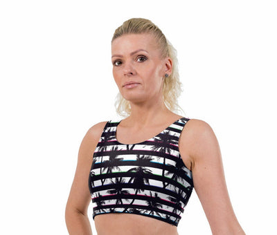 Tropical Stripe Print Lycra Crop Top