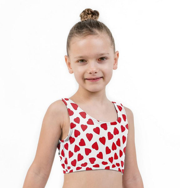 Love Hearts Valentines Print Lycra Girls Crop Top