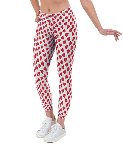 Love Hearts Valentines Print Lycra Leggings