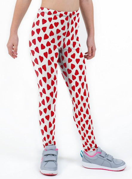 Love Hearts Valentines Print Lycra Girls Leggings