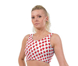 Love Hearts Valentines Print Lycra Crop Top