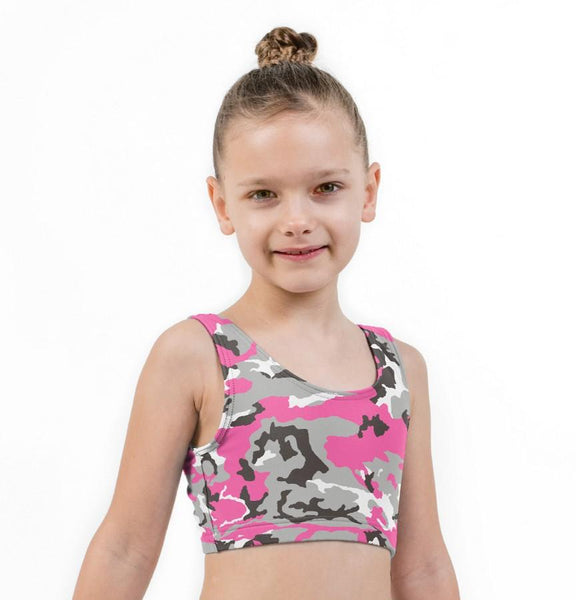 Camo Pink Print Lycra Girls Crop Top