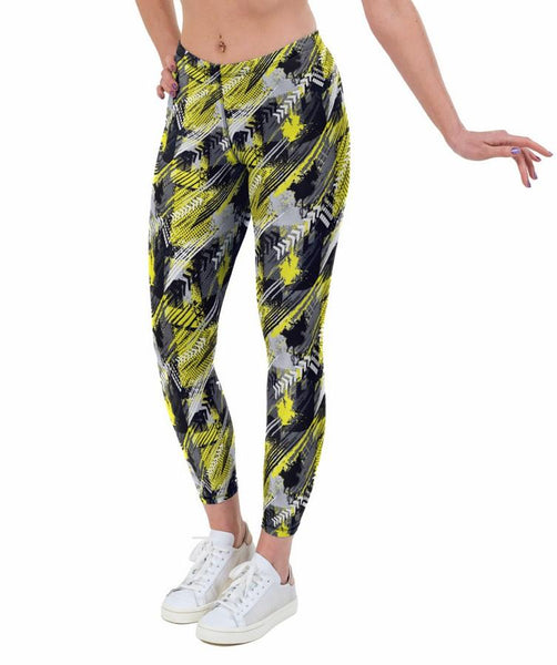 Rally Yellow Print Lycra Leggings