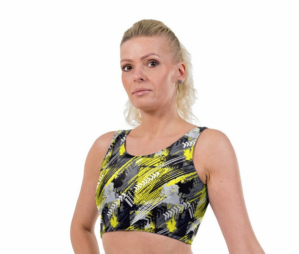Rally Yellow Print Lycra Crop Top