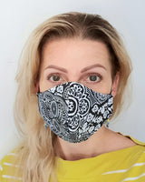 Lace Skulls Print Cloth Face Mask - Washable & Reusable