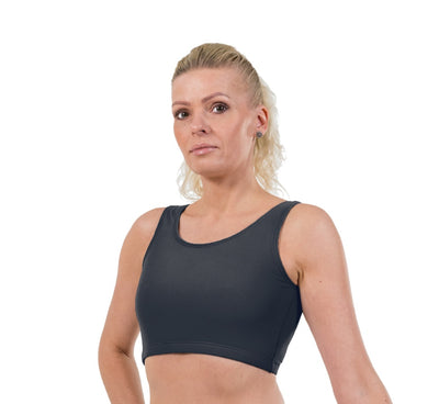 Charcoal Lycra Crop Top - Sports Fabric