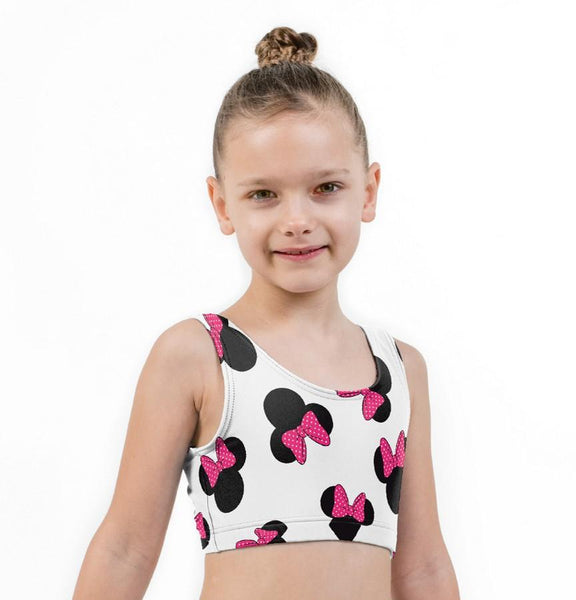 Minnie Mouse Ears Print Lycra Girls Crop Top