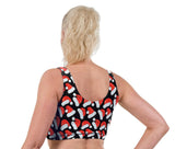 Santa Hats Christmas Print Lycra Crop Top