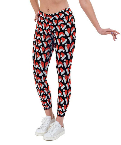 Santa Hats Christmas Print Lycra Leggings