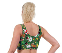 Festive Fun Christmas Print Lycra Crop Top