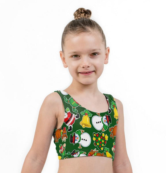 Festive Fun Christmas Print Lycra Girls Crop Top