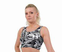 Crazy Camo Print Lycra Crop Top