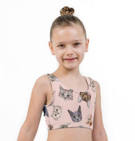 Kittycat Print Lycra Girls Crop Top