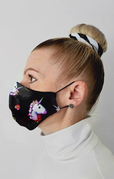 Unicorn Hearts Recycled Fabric Cotton Face Mask - Washable & Reusable