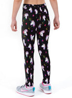 Unicorn Hearts Print Lycra Girls Leggings