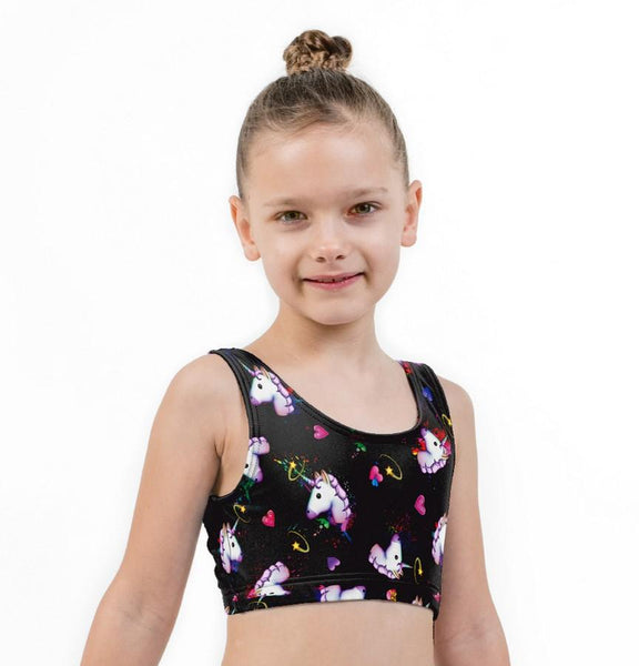 Unicorn Hearts on Black Print Lycra Child Crop Top