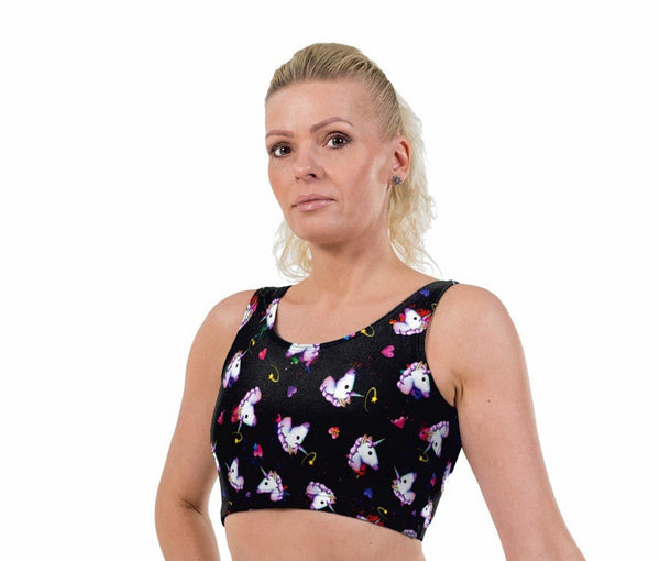 Unicorn Hearts Print Lycra Crop Top