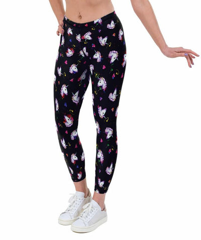 Unicorn Hearts Print Lycra Leggings