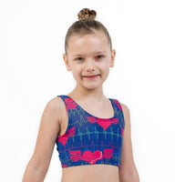 Heartbeat Blue Valentines Print Lycra Girls Crop Top