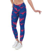 Heartbeat Blue Valentines Print Lycra Leggings