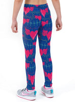 Heartbeat Blue Valentines Print Lycra Girls Leggings