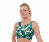 Tropical Palm Print Lycra Crop Top