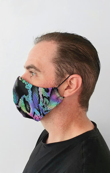 Reptile Skin Recycled Fabric Cotton Face Mask - Washable & Reusable