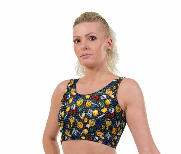 Emoji Workout Print Lycra Crop Top