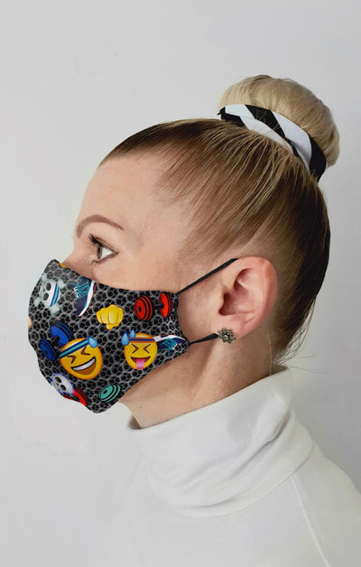 Emoji Workout Recycled Fabric Cotton Face Mask - Washable & Reusable