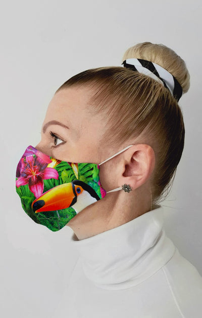 Toucan Recycled Fabric Cotton Face Mask - Washable & Reusable