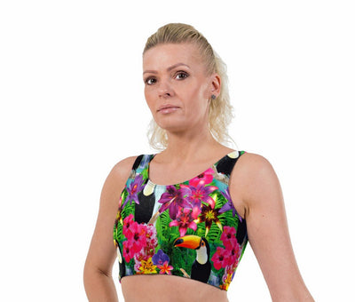 Toucan Print Lycra Crop Top