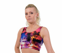 Tropical SunMatching Set Print Lycra Crop Top