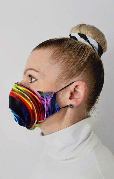 Glow Spin UV Recycled Fabric Cotton Face Mask - Washable & Reusable