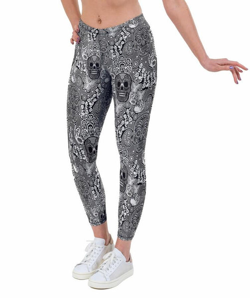 Skull Lace Print Lycra Leggings