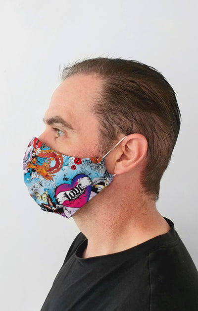 Skulls and Roses Recycled Fabric Cotton Face Mask - Washable & Reusable
