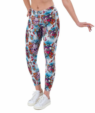 Skulls and Roses Print Lycra Leggings