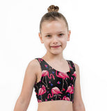 Flamingo Hearts Print Lycra Girls Crop Top