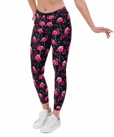 Flamingo Hearts Print Lycra Leggings