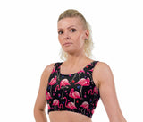 Flamingo Hearts Print Lycra Crop Top