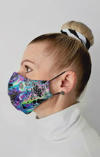 Space Marble UV Recycled Fabric Cotton Face Mask - Washable & Reusable