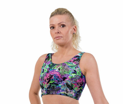 Space Marble UV Print Lycra Crop Top