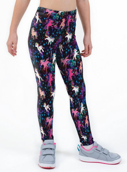 Space Pony Print Lycra Girls Leggings